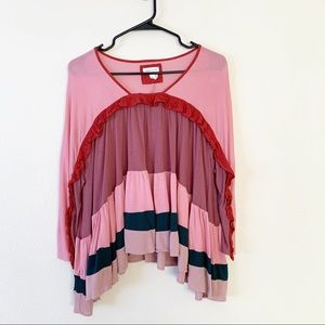 Meadow Rue Colorblock Tiered Ruffle Boho Blouse